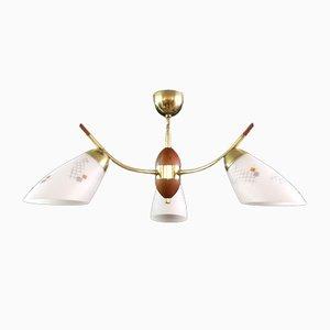 Lampada da soffitto Mid-Century in ottone e teak, anni '70