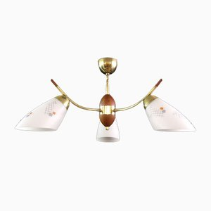 Mid-Century Brass and Teak Ceiling Lamp, 1970s