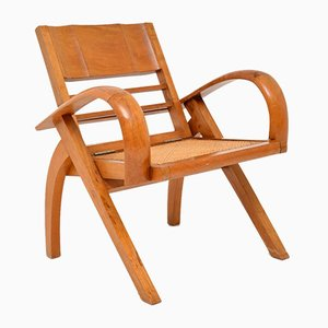 Vintage Satinwood and Cane Armchair, 1960s