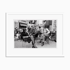 Alain Delon French Actors on Set Archival Pigment Print Framed in White by Jean-Pierre Bonnotte