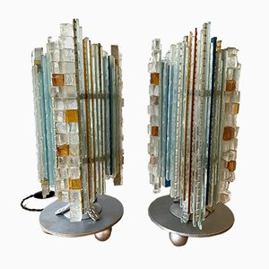 Italian Glass and Wrought Iron Table Lamps from Biancardi & Jordan Arte, 1970s, Set of 2