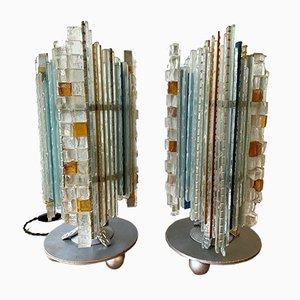 Italienische Glas & Schmiedeeisen Tischlampen von Biancardi & Jordan Arte, 1970er, 2er Set