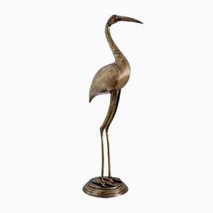 Italian Life-Size Brass Crane, 1970s