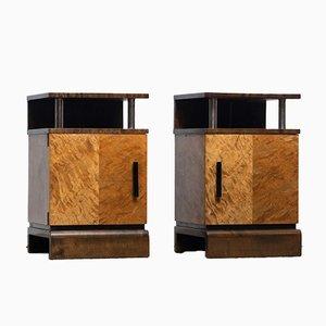 Vintage Art Deco Birch and Chrome Nightstands Attributed to Eliel Saarinen, Set of 2