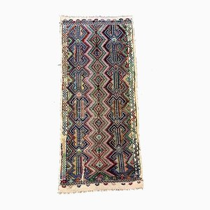 Large Vintage Turkish Red, Black, Blue, and Beige Kilim Runner Rug, 1950s
