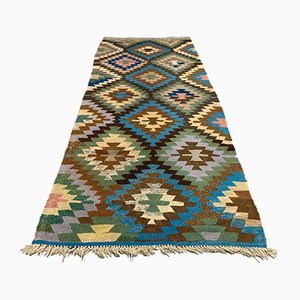 Large Vintage Turkish Green, Blue, and Beige Wool Kilim Runner Rug, 1950s