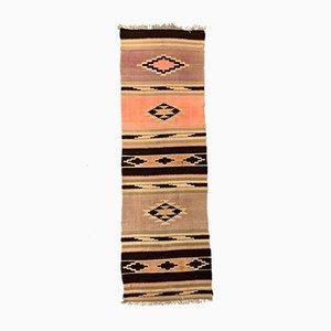 Large Vintage Turkish Pink, Beige, and Brown Wool Kilim Runner Rug, 1950s