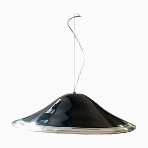 Vintage Black and Clear Murano Glass Ceiling Lamp from Leucos, 1970s
