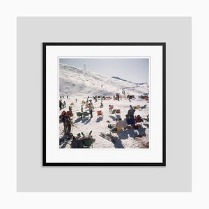 Skiers at Verbier Oversize C Print Framed in Black by Slim Aarons