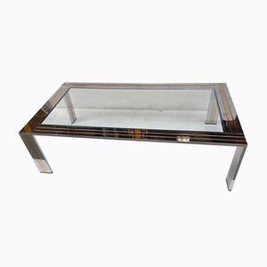 Italian Chrome-Plated Metal and Brass Coffee Table from Renato Zevi, 1970s