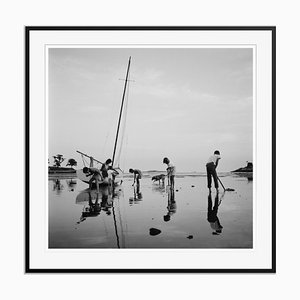 Digging for Clams Silver Fibre Gelatin Print Framed in Black by Slim Aarons