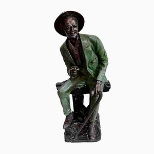 Patinated Bronze L'Homme au Repos Sculpture, 1920s
