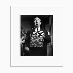 Alfred Hitchcock on the Set of Psycho Silver Gelatin Resin Print Framed in White