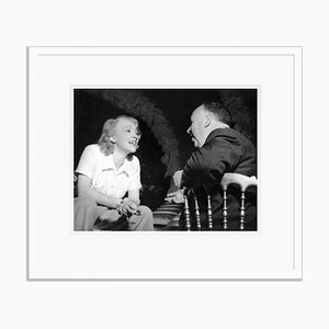 Dietrich Chats with Director Alfred Hitchcock Archival Pigment Print Framed in White by Everett Collection
