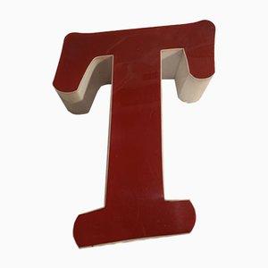 Panneau Lettre T Vintage en Plexiglas