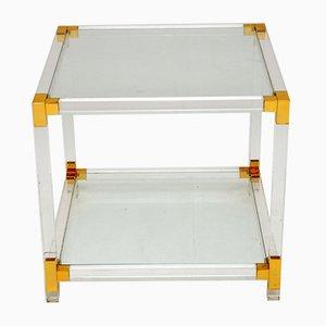 Mesa de centro vintage de vidrio y acrílico, años 70