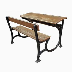 Antique Art Nouveau Style Cast Iron and Oak Desk, 1900s
