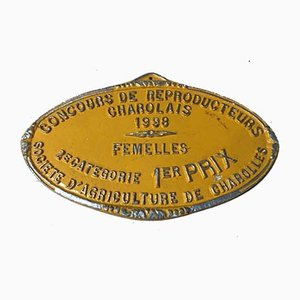 Agricultural Competition Charolles Orange 1st Prize Plaque, 1998
