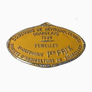 Plaque du 1er Concours de Concurrence Agricole Charolles Orange, 1998