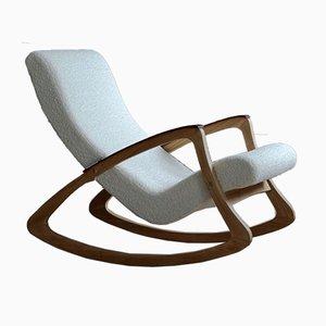 Rocking Chair Bouclé Vintage, 1950s