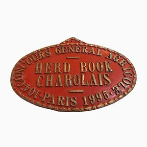 Agricultural Competition Paris Red Herb Book Charolais Plaque, 1990s