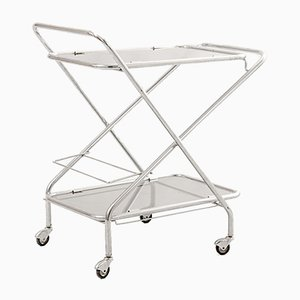 Glass and Tubular Steel Bar Cart, 1960s