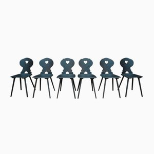 Vintage Black Patinated Beech Dining Chairs, 1950s, Set of 6
