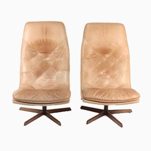 Norwegian Patinated Leather Lounge Chairs from Berg, 1960s, Set of 2
