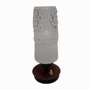 Lámpara de mesa vintage pequeña de metal negro y chapa de teca con pantalla de vidrio transparente blanco, años 70
