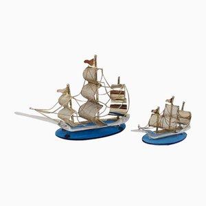 Handgemachte Metall und Murano Glas Segelschiff Figuren, 1970er, 2er Set