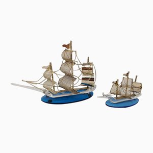Handmade Metal and Murano Glass Sailing Ship Figurines, 1970s, Set of 2