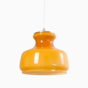 Orange Opaline Glass Ceiling Lamp, 1960s