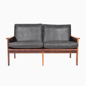 Mid-Century Danish Leather and Rosewood Sofa by Illum Wikkelsø for Niels Eilersen, 1960s