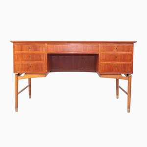 Mid-Century Danish Teak, Oak, and Brass Desk, 1950s