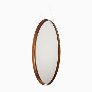 Italian Oval Teak Mirror, 1960s