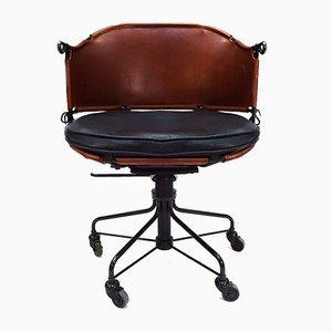 Scandinavian Leather, Rosewood & Steel Desk Chair by Mats Theselius for Källemo, 2012