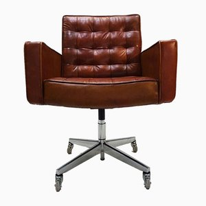 Mid-Century Cognac Leather and Aluminum Desk Chair by Vincent Cafiero for Knoll Inc. / Knoll International, 1960s