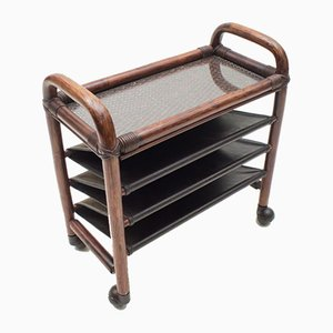 Bamboo and Leather Newspaper Trolley with Shelf, 1970s