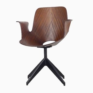 Teak Plywood Model Medea Swivel Chair by Vittorio Nobili for Fratelli Tagliabue, 1954