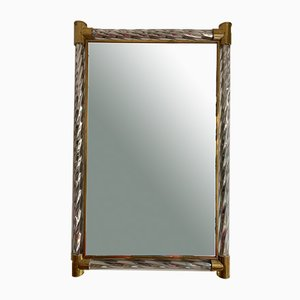 Espejo italiano de latón y cristal de Murano de plata de Barovier & Toso, años 60