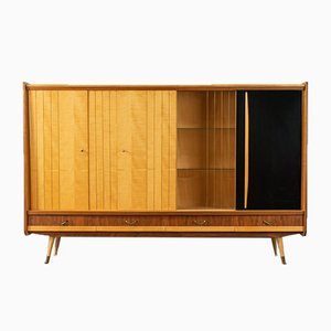 Mid-Century Walnut and Birch Veneer Highboard, 1950s