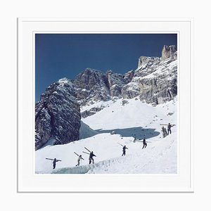 Walking Up Cortina D'ampezzo Oversize C Print Framed in White by Slim Aarons