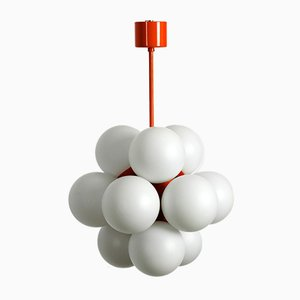 Plafonnier Atomic Space Age en Métal et Verre Orange de kaiser Leuchten, 1960s