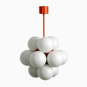 Space Age Deckenlampe aus Metall & orangener Glaskugel von kaiser Leuchten, 1960er