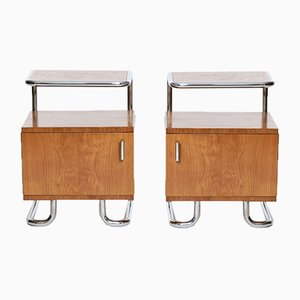 Vintage Art Deco Chrome and Tubular Steel Sideboards from Kovona, Set of 2