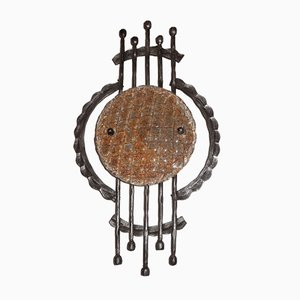 Mid-Century Brutalist Wrought Iron and Murano Glass Sconce, 1950s