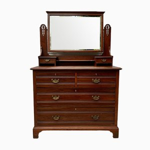 Large Antique Arts and Crafts Dressing Table with Drawers and Mirror