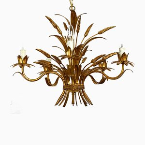 Gold-Plated Metal 5-Arm Chandelier from Hans Kögl, 1970s
