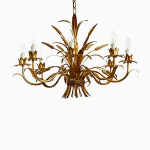 Large Gold-Plated Metal 8-Arm Chandelier from Hans Kögl, 1970s