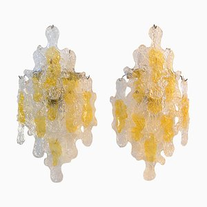 Italian Brutalist Wall Sconces from Mazzega, 1960s, Set of 2